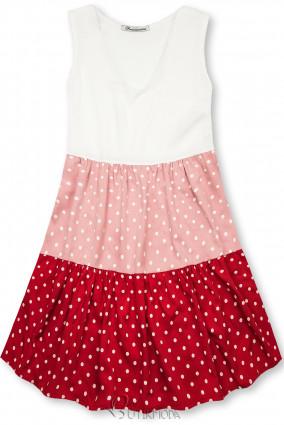 Kleid mit Punktedruck rosa/rot