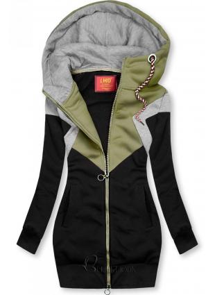 Sweatjacke in langer Form schwarz/khaki/grau
