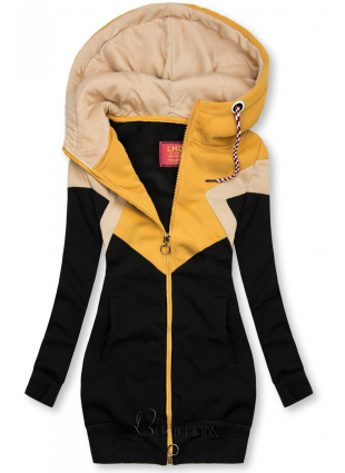 Sweatjacke in langer Form schwarz/gelb/beige