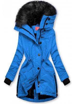 Winterjacke mit hohem Kragen blau
