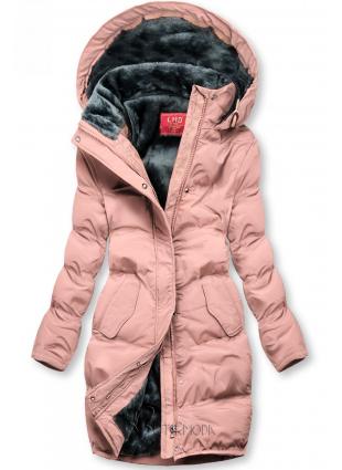 Winterjacke mit kuscheliger Teddy Fleece rosa