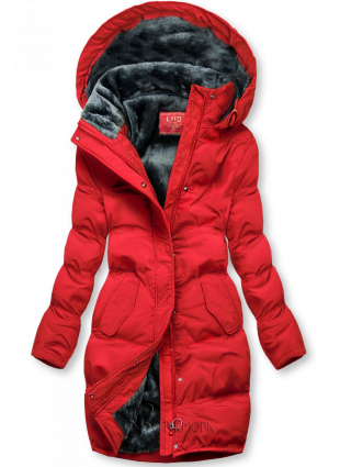 Winterjacke mit kuscheliger Teddy Fleece rot