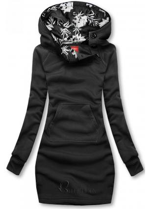 Verlängerte Sweatshirt/Sweatkleid mit Kapuze schwarz