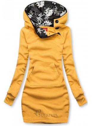 Verlängerte Sweatshirt/Sweatkleid mit Kapuze gelb