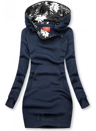 Verlängerte Sweatshirt/Sweatkleid mit Kapuze dunkelblau