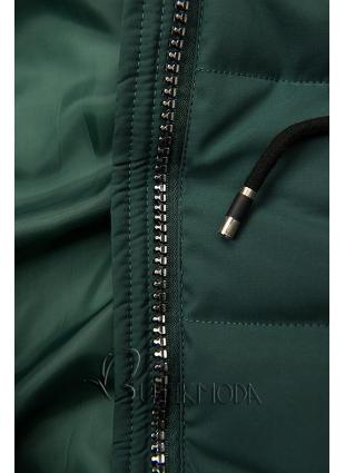Gesteppte Jacke für Winter mit Kapuze grün