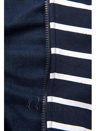 Kapuzenjacke in Streifenoptik dunkelblau/grau