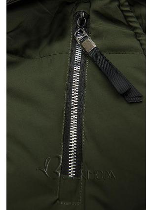 Gesteppte Jacke mit Kapuze khaki