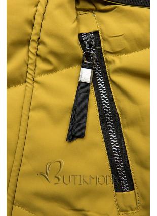 Gesteppte Jacke mit Kapuze gelb