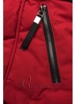 Gesteppte Jacke mit Kapuze rot