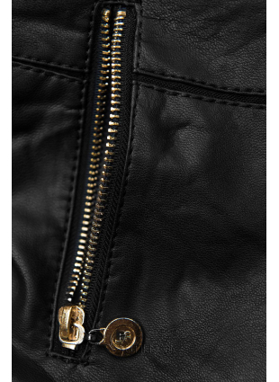 Kurzjacke aus weichem Lederimitat schwarz