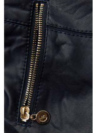 Kurzjacke aus weichem Lederimitat dunkelblau