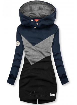 Verlängerte Sweatshirt mit Kapuze blau/grau/schwarz