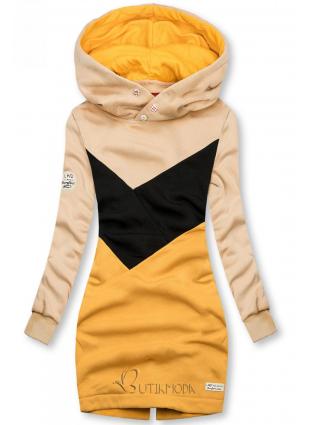 Verlängerte Sweatshirt mit Kapuze beige/schwarz/gelb