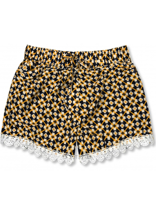 Shorts mit Alloverprint blau/gelb