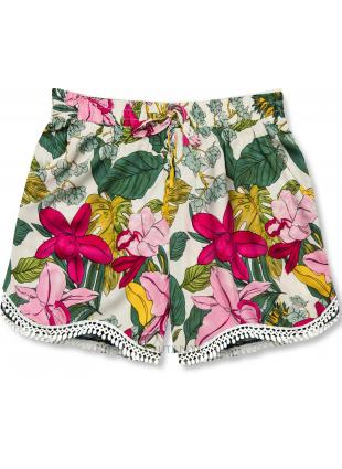 Shorts im Blumenmuster rosa/weiß