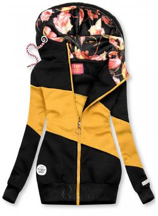 Kapuzensweatjacke in Colorblocking-Optik schwarz/gelb