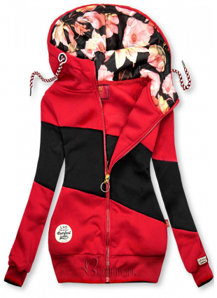 Kapuzensweatjacke in Colorblocking-Optik rot/schwarz