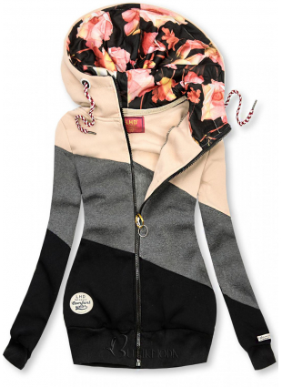 Kapuzensweatjacke in Colorblocking-Optik beige/anthrazit/schwarz