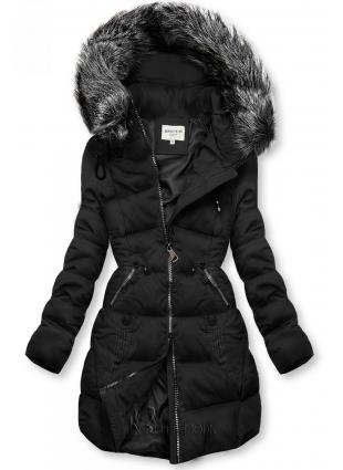Gesteppte Jacke für Winter mit Kapuze schwarz