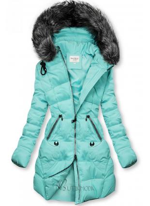 Gesteppte Jacke für Winter mit Kapuze cyan