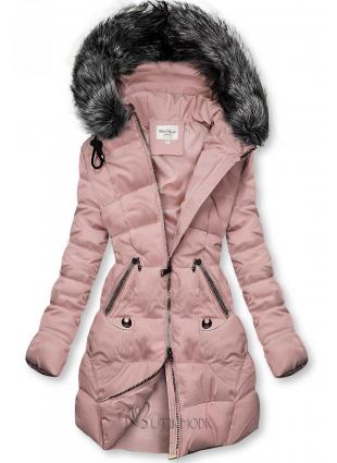 Gesteppte Jacke für Winter mit Kapuze rosa