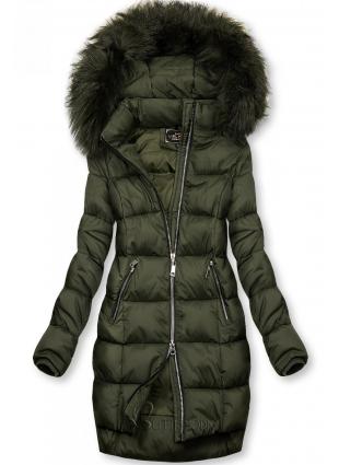 Gesteppte Winterjacke mit Kapuze khaki