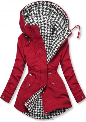 Jacke mit Kapuze Rot/Hahnentrittmuster