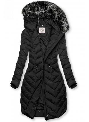 Winter Steppjacke mit Kapuze schwarz