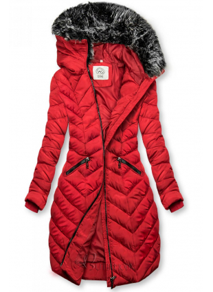 Winter Steppjacke mit Kapuze rot