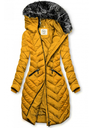 Winter Steppjacke mit Kapuze gelb