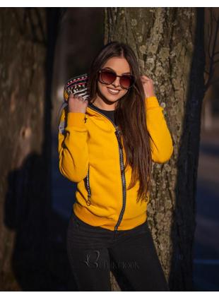 Kurzjacke mit Kapuze gelb
