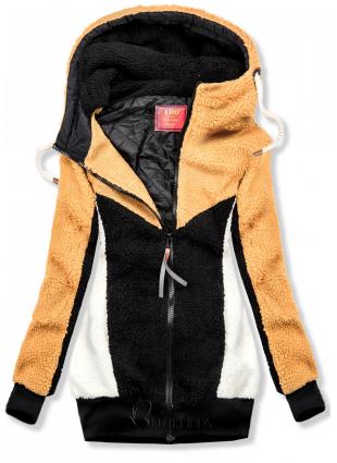Jacke mit Kunstpelz gelb/schwarz
