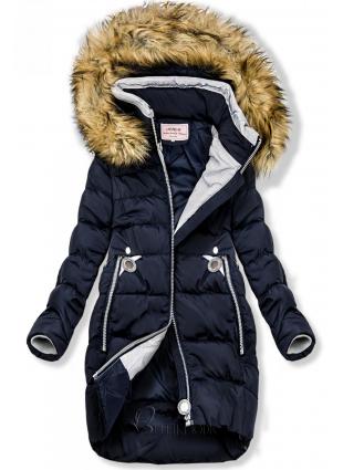 Winter Jacke mit Kapuze dunkelblau