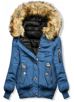 Wende-Jacke jeansblau/schwarz