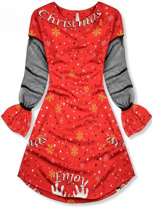Kleid mit Weihnachts-Print rot