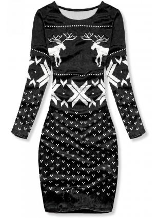 Velourskleid mit Weihnachts-Print schwarz