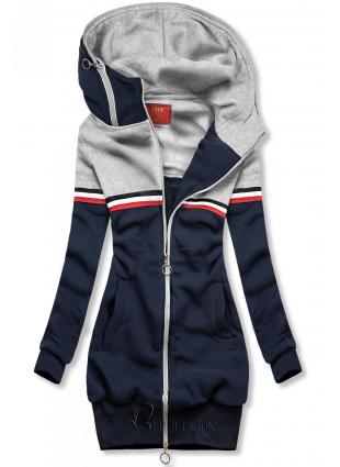 Verlängertes Sweatshirt blau / grau