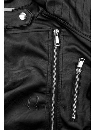 Kunstlederjacke in schwarz