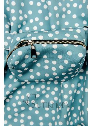 Blaues gepunktetes Kleid mit Tasche in der Taille