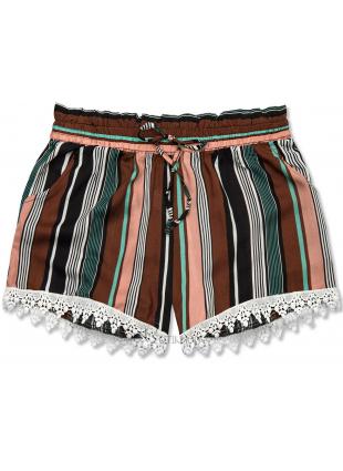 Shorts mit Spitzensaum braun/grün