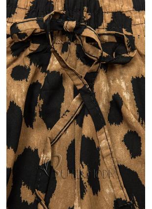 Shorts mit Animal-Print braun