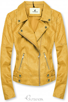 Lederimitatjacke im Biker-Look gelb