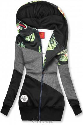 Sweatshirt mit Blumenmuster anthrazit/schwarz