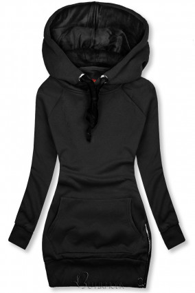 Sweatshirt mit Kapuze in Velour-Optik schwarz