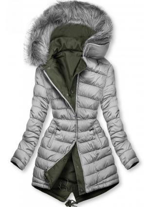 Wende-Parka für Winter khaki/grau